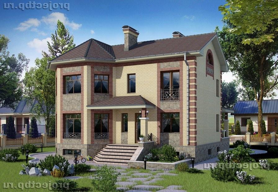 Проект дома с эркером, цокольным этажом и скатной крышей 211-B-Z