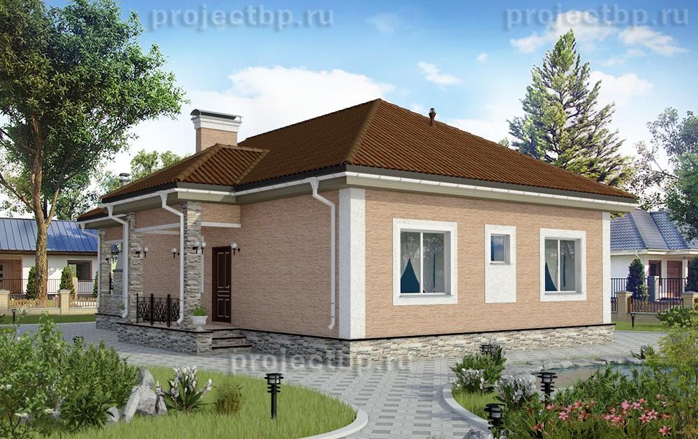 Проект одноэтажного дома с облицовкой штукатуркой