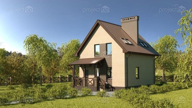 Проект компактного дома с мансардой и двухскатной крышей 85-C